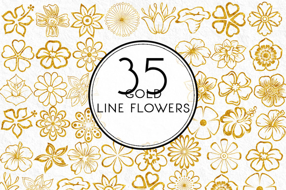 Gold Line Flowers