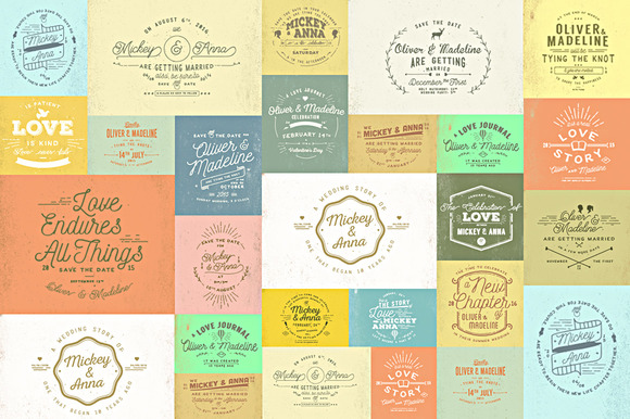 20 Rustic Wedding Badge Stickers