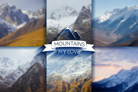 6 Mountain Blur Backgrounds Vector