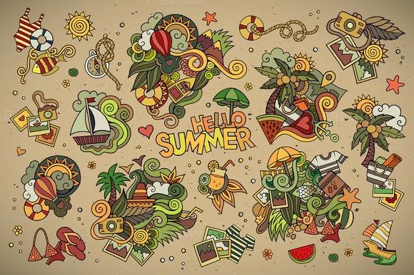 Set Of Summer Doodles Elements