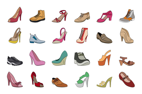 Shoes Hand Drawn Vector Icons