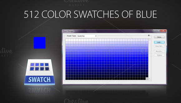 512 Color Swatches Of Blue