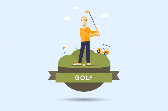 Golf Flat Style Vector Illustration