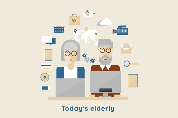 Modern Elderly And Flat Icons