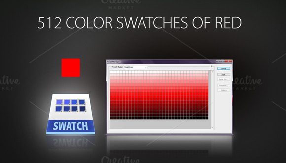 512 Color Swatches Of Red