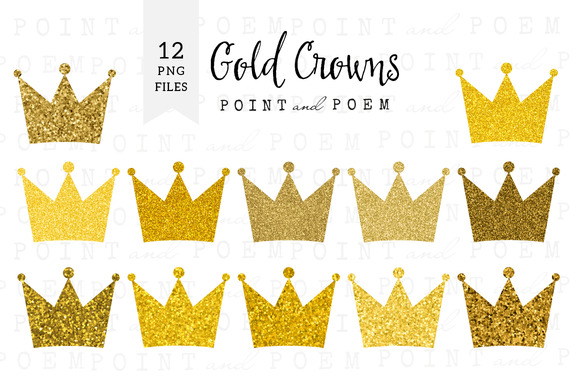 Gold Glitter Crown Clipart