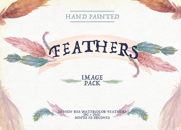 Feathers Watercolor Image Set