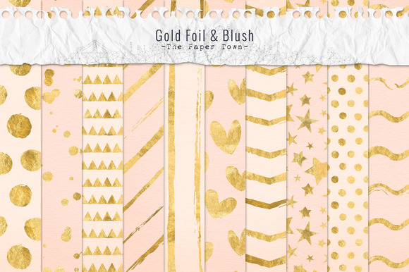 Gold Foil And Blush Digital Papers
