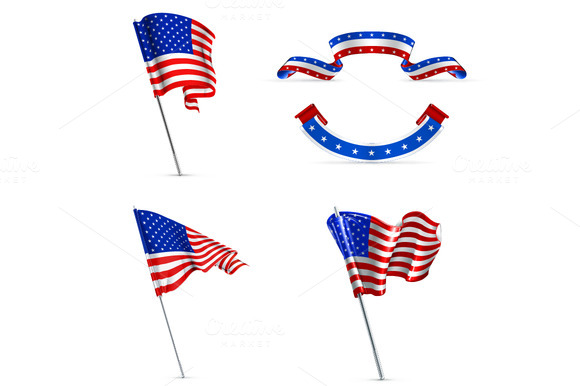 A Set Of United States Vector Flags