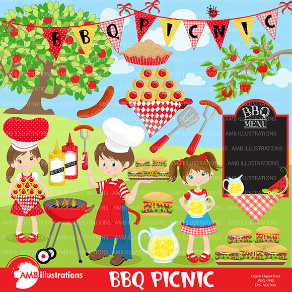 BBQ Party Picnic Clipart 910