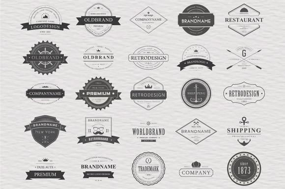 25 Vintage Typographic Logos Eps 10