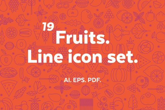 Fruits Line Icon Set