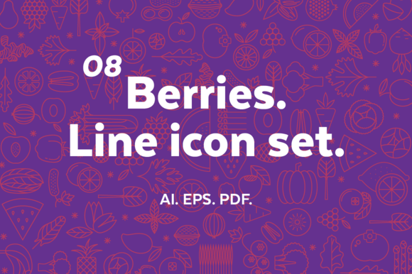 Berries Line Icon Set