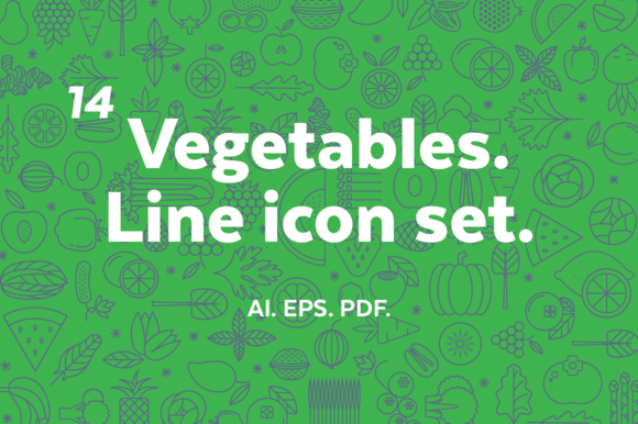 Vegetables Line Icon Set