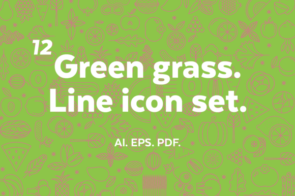 Green Grass Line Icon Set