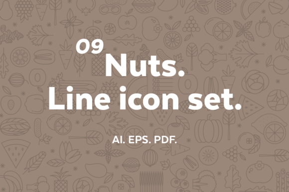 Nuts Line Icon Set