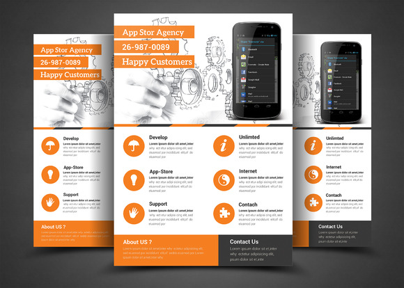 Mobile App Flyer Print Template