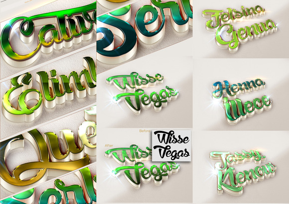 10 3D Text Effects Green Colour