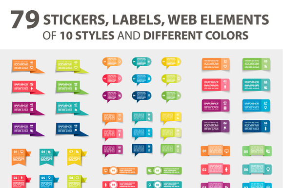 79 Stickers Labels Web Elements