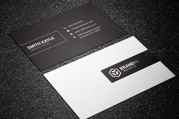 Minimal Black White Business Card