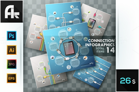 Connection Infographics Set
