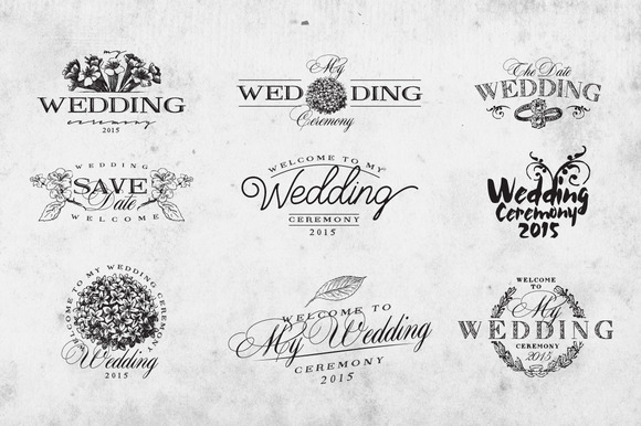 Vintage Wedding Logo Set Vol.1