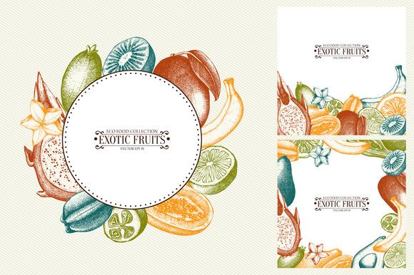 Exsotic Fruits Cards Design