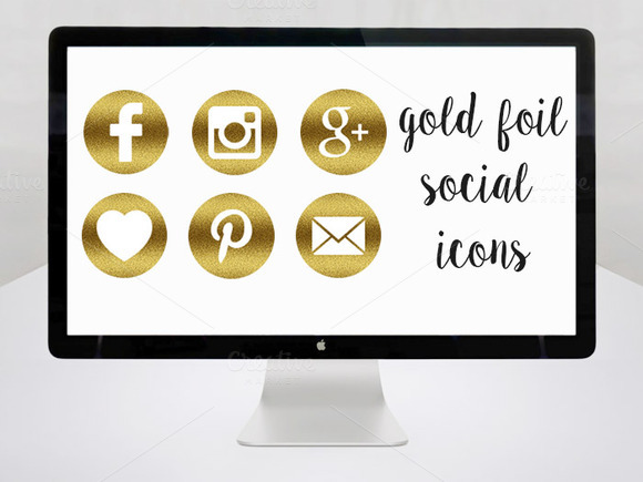 Gold Foil Social Media Icons Set Of