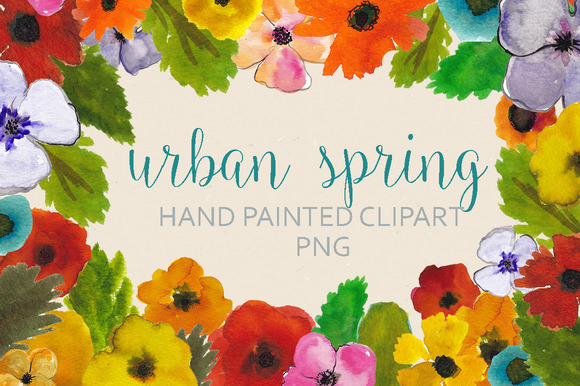 Watercolor Spring Flower Clipart