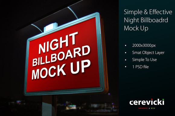Night Billboard Mock Up