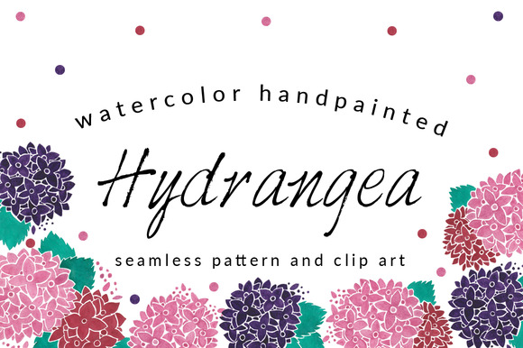 Hydrangea Pattern And Clip Art Pack