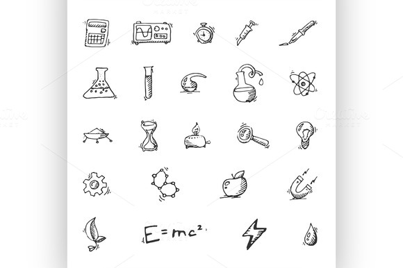 Doodle Science Icon Set