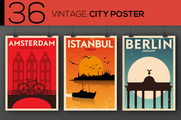 36 Vintage City Posters
