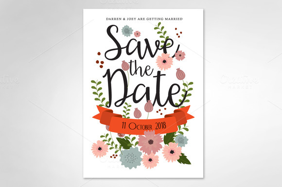 Floral Save The Date Template Vector