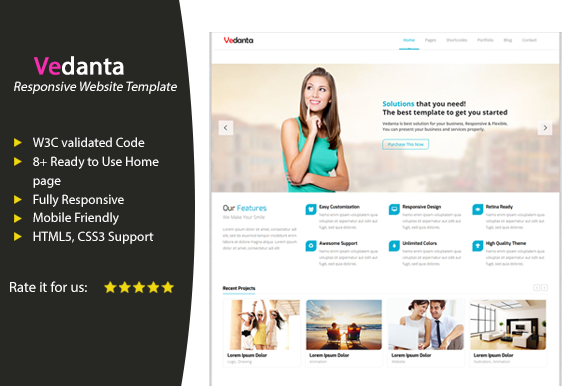 Vedanta Responsive Business Template