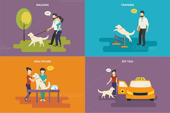 Family With Pet Flat Icons Set #10