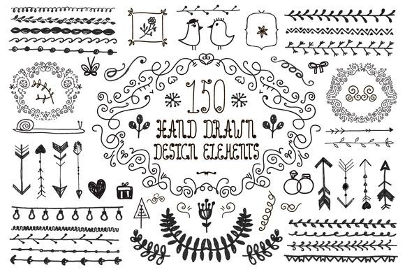 150 Hand Drawn Design Elements