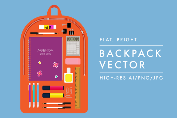 Back To School Backpack Vector