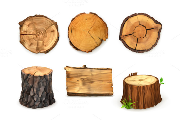 Wooden Stumps Vector Icons