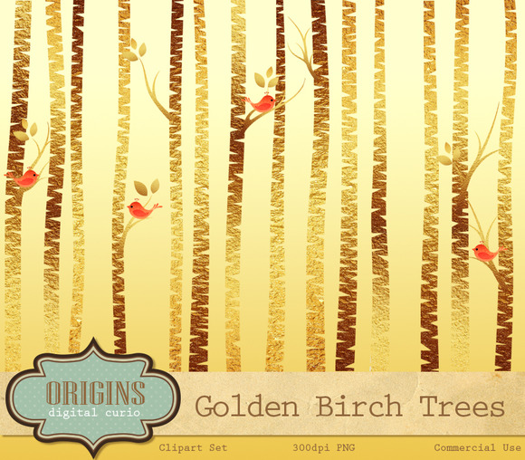 Golden Birch Tree Clipart