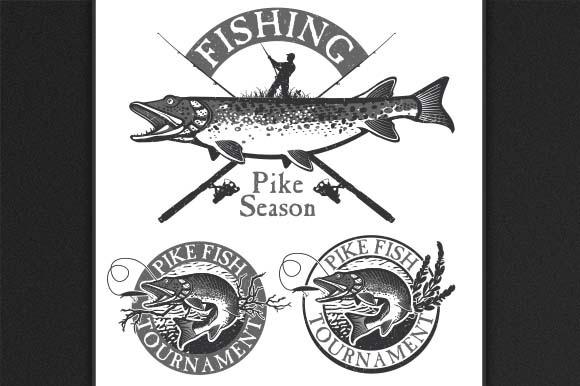 Vintage Pike Fishing Emblems Labels