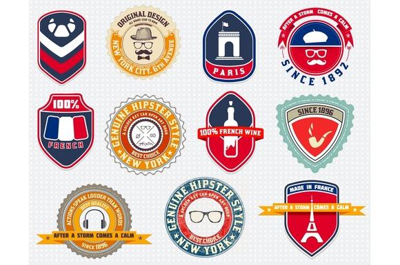 Badges Set Labels And Designs