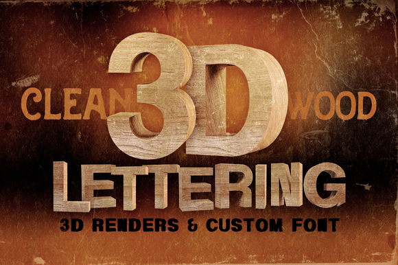 Wood 3D Lettering Font