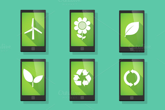 Ecology Related Phone Vector Set
