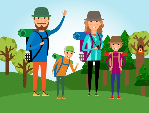Nature Tourism Family At Forest
