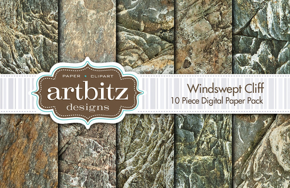 Windswept Cliff Digital Paper