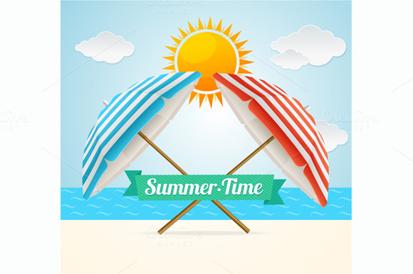 Vector Beach Umbrella Summer Card