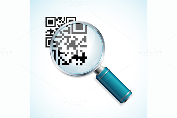 Vector Magnifier With Qr Barcode