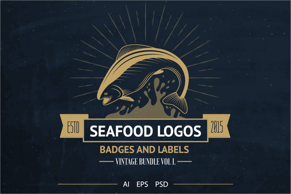 Seafood Logos Badges Labels Bonus
