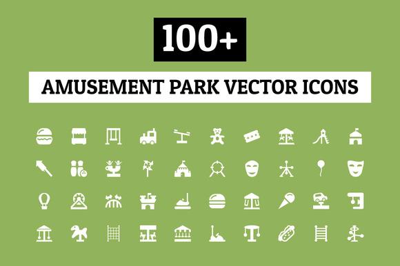 100 Amusement Park Vector Icons